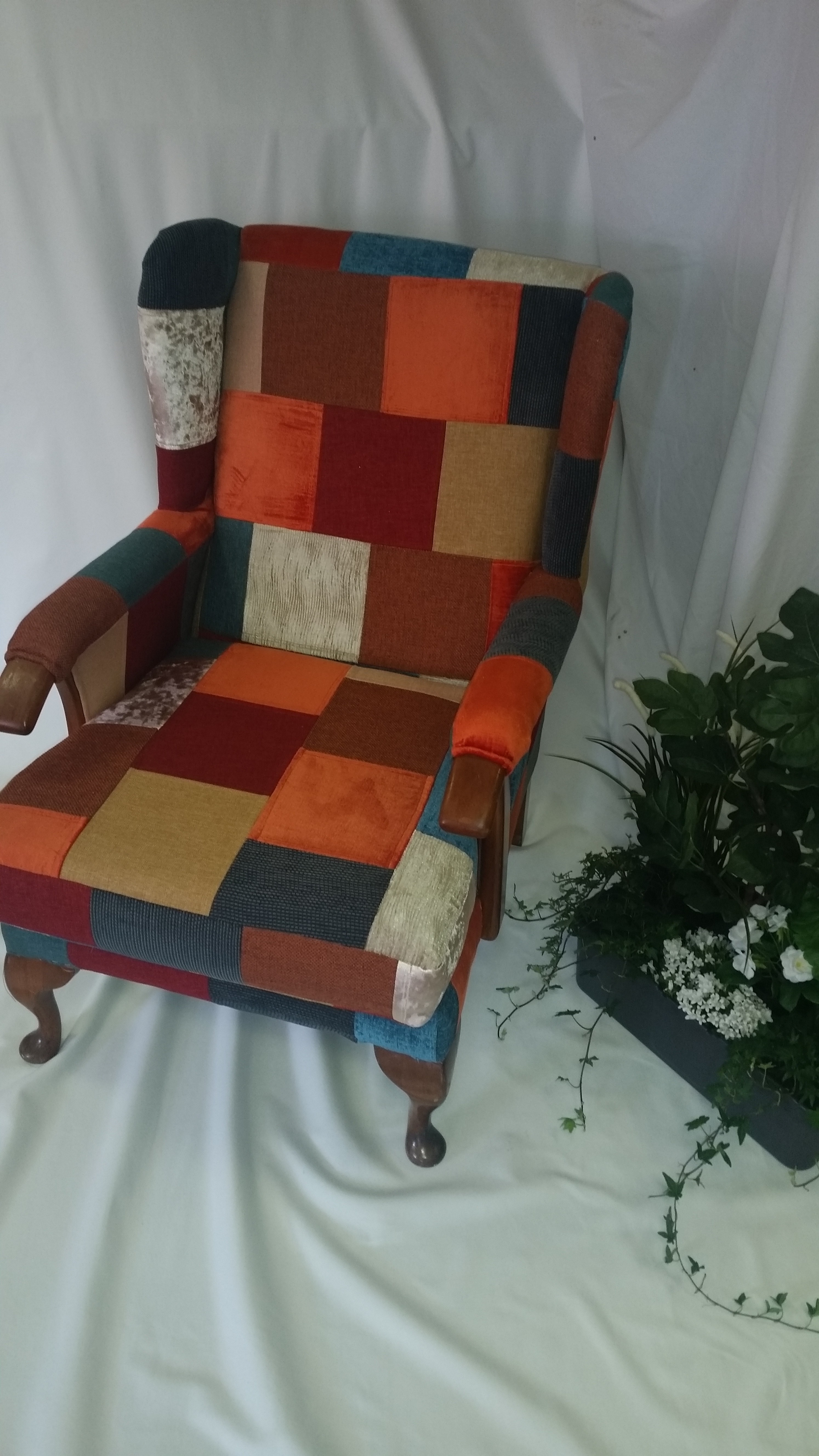 Upcycled patchwork arm chair