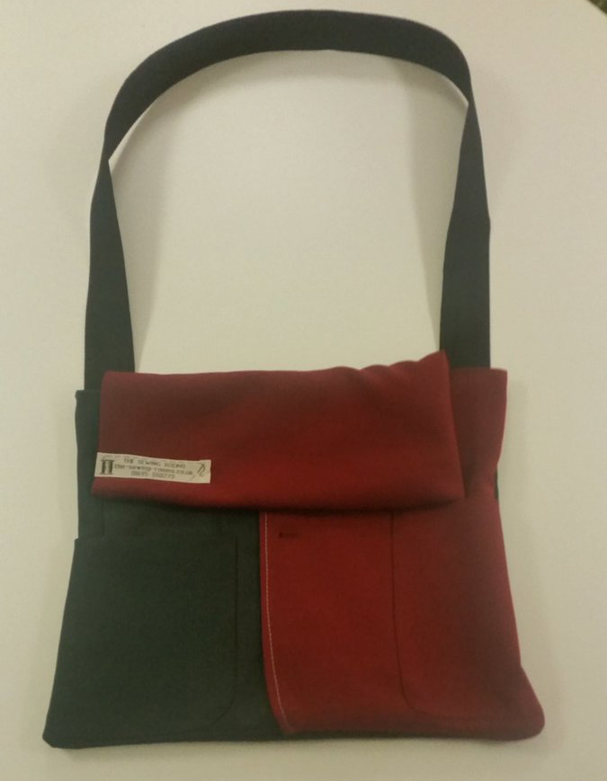 Laptop bag made from upcycled school uniform