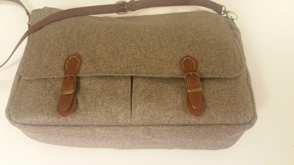 Leather and tweed laptop bag