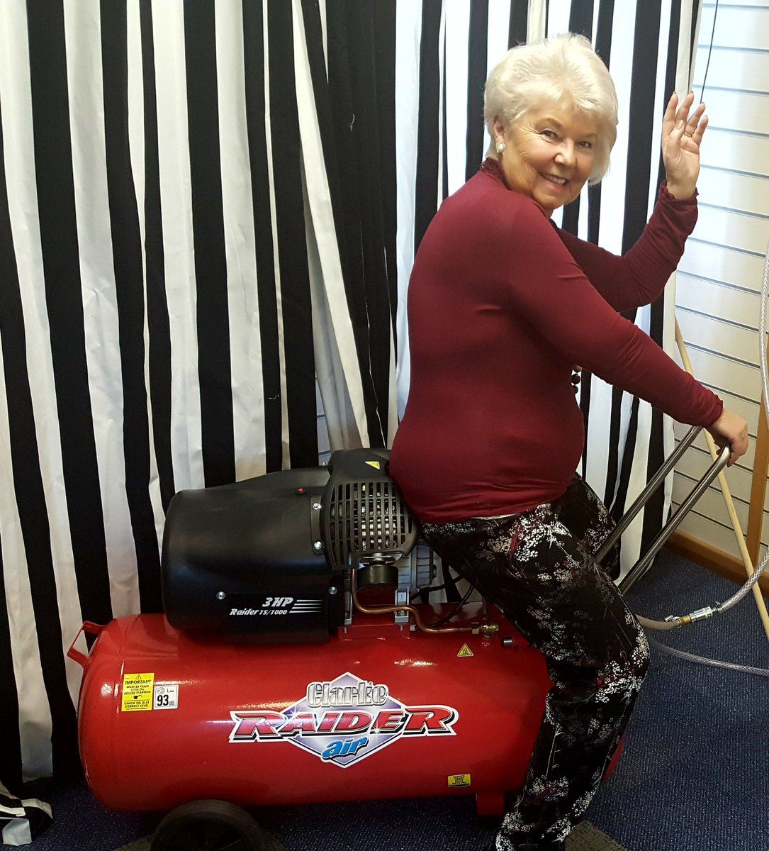 Maureen testing upholstery equipment